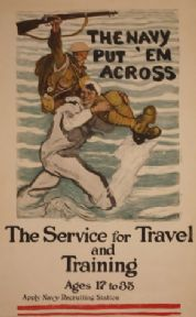 "American Navy Poster ""The navy put em across"""